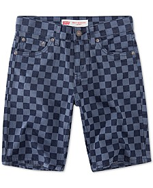 Levi's® Little Boys 502 Checkerboard-Print Taper-Fit Denim Shorts