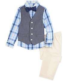Nautica Little Boys 4-Pc. Oxford Shirt, Denim Vest, Pants & Bowtie Set