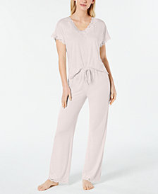 Charter Club Lace-Trimmed Knit Pajama Set, Created for Macy's