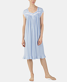 Eileen West Plus-Size Printed Venise Lace Waltz Nightgown