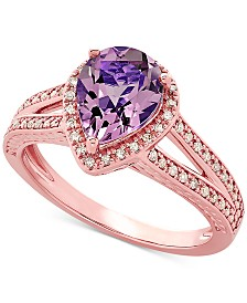Amethyst (1-1/2 ct. t.w.) & Diamond (1/5 ct. t.w.) Ring in 14k Rose Gold