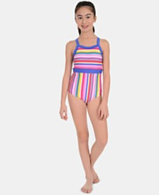 Calvin Klein Big Girls 1-Pc. Striped Swimsuit