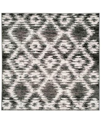 Adirondack Charcoal and Ivory 4' x 4' Square Area Rug