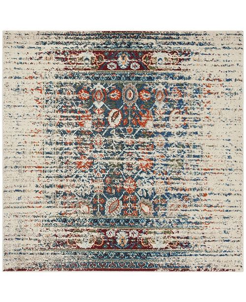 "Safavieh Monaco Ivory and Blue 6'7"" x 6'7"" Square Area Rug"