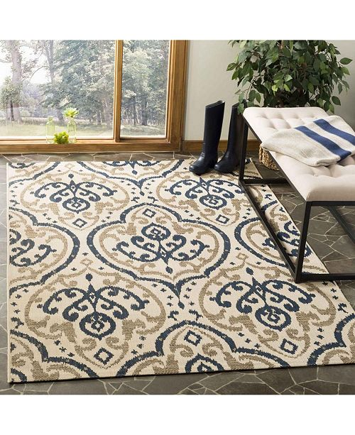 """Martha Stewart Collection Beige and Navy 4' x 5'7"""" Area Rug, Created for Macy's"""