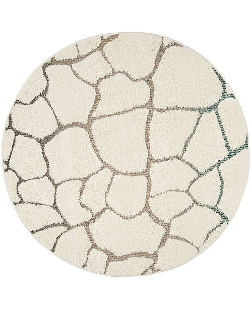 "Safavieh Santorini Cream and Multi 6'7"" x 6'7"" Round Area Rug"