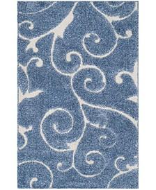 "Safavieh Shag Light Blue and Cream 3'3"" x 5'3"" Area Rug"