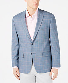 Michael Kors Men's Classic-Fit Blue & Orange Plaid Sport Coat