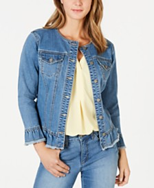 Charter Club Ruffled Denim Jacket, Created for Macy's
