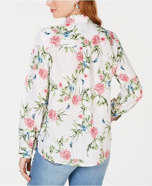4723becb Charter Club Petite Linen Floral-Print Utility Shirt, Created for Macy's ...