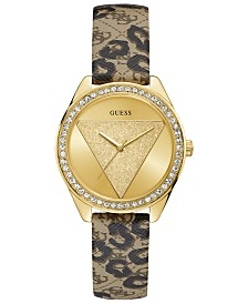 GUESS Women's Gold-Tone Animal Print Logo Leather Strap Watch 37mm