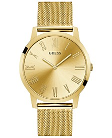 GUESS Men's Richmond Gold-Tone Stainless Steel Mesh Bracelet Watch 44mm