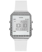 0a9e94a11c5 GUESS Women s Digital Mini Flare White Silicone Strap Watch 35x47.5mm
