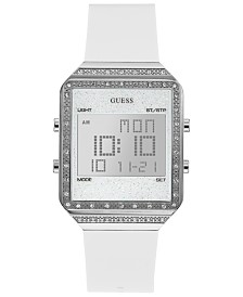 GUESS Women's Digital Mini Flare White Silicone Strap Watch 35x47.5mm