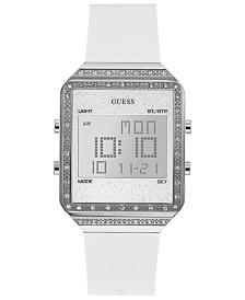 GUESS Women's Digital Mini Flare White Silicone Strap Watch 35x47.5mm