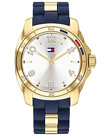 Women's Navy Rubber & Gold-Tone Bracelet Watch 36mm, Created For Macy's