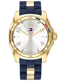 Tommy Hilfiger Women's Navy Rubber & Gold-Tone Bracelet Watch 36mm, Created For Macy's