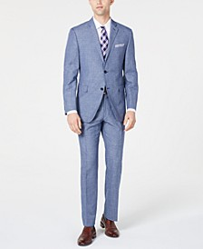 Men's Slim-Fit Medium Blue Mini-Houndstooth Dobby Suit