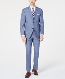Perry Ellis Men's Slim-Fit Medium Blue Mini-Houndstooth Dobby Suit