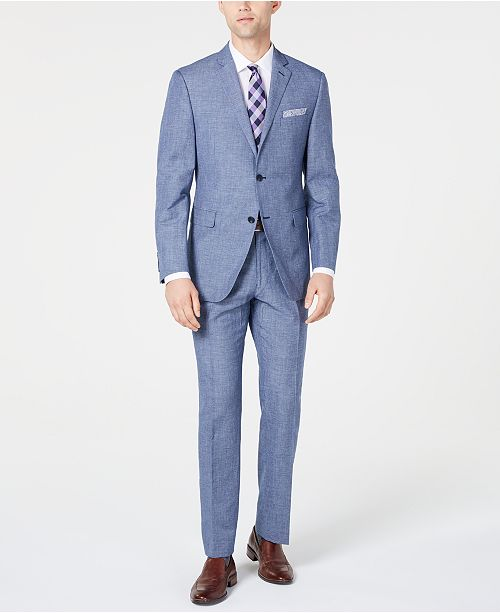 Men S Slim Fit Medium Blue Mini Houndstooth Dobby Suit