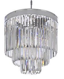 Palladium 9-Light Chrome Crystal Glass Fringe Modern Chandelier