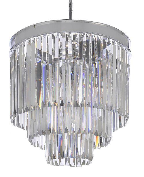 Harrison Lane Palladium 9-Light Chrome Crystal Glass Fringe Modern Chandelier