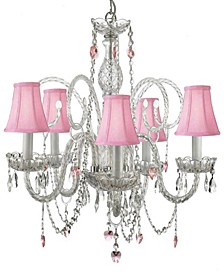 Empress Swarovski Crystal Trimmed 5-Light Plug-In Crystal Chandelier with Shades and Crystal Hearts