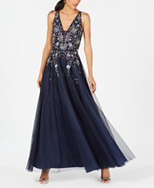 Adrianna Papell Beaded Tulle Gown