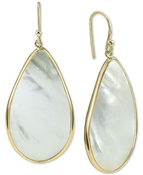 f40bd827f0f43 Argento Vivo Mother-of-Pearl Teardrop Drop Earrings in Gold-Plated ...