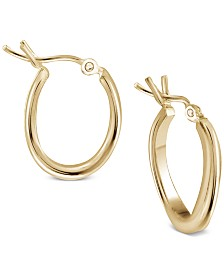 Argento Vivo Wavy Hoop Earrings in Gold-Plated Sterling Silver