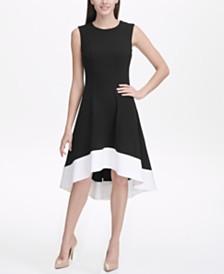 Tommy Hilfiger Petite Scuba Crepe Hi-Low Colorblock Dress