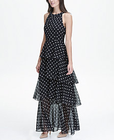 Tommy Hilfiger Classic Dot Chiffon Halter Neck Tier Maxi Dress