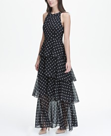 Tommy Hilfiger Printed Chiffon Tier Maxi Dress, Created for Macy's