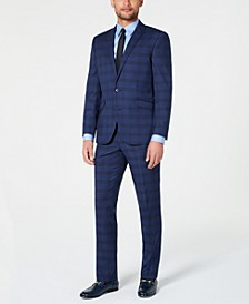 Men's Ready Flex Slim-Fit Stretch Dark Blue Plaid Suit