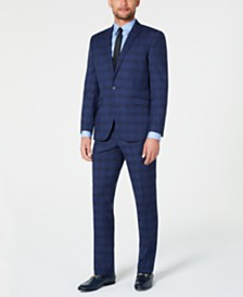 Kenneth Cole Reaction Men's Techni-Cole Slim-Fit Stretch Dark Blue Plaid Suit