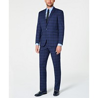 Kenneth Cole Reaction Men's Techni-Cole Stretch Dark Blue Plaid Suit