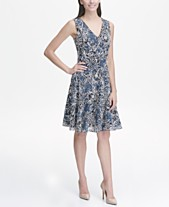 Tommy Hilfiger Beach Rose Outline Lace V Neck Fit and Flare Dress a8a8b4a26