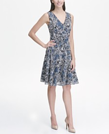 Tommy Hilfiger Petite Floral Lace Fit and Flare Dress
