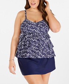 Island Escape Plus Size Tiered Tankini Top & Swim Skirt, Created for Macy's