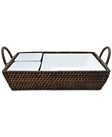222 Fifth Capri Isle Rattan Rectangle 3-Section Multi Server
