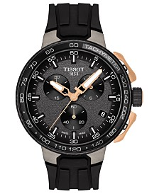 Tissot Men's Swiss Chronograph T-Sport T-Race Cycling Black Silicone Strap Watch 44.5mm