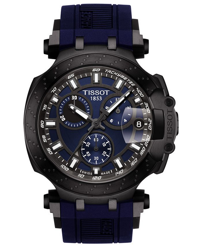 Tissot - Men's Swiss Chronograph T-Sport T-Race Black Silicone Strap Watch 47.6mm