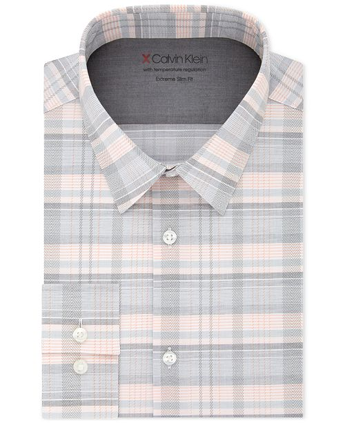 Calvin Klein X Men's Extra-Slim Fit Temperature Regulating Stretch Plaid Dress Shirt
