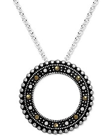 """Marcasite Beaded Circle 18"""" Pendant Necklace in Fine Silver-Plate"""