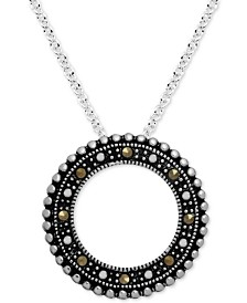 "Marcasite Beaded Circle 18"" Pendant Necklace in Fine Silver-Plate"