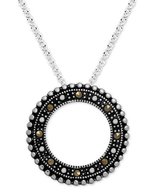 """Macy's Marcasite Beaded Circle 18"""" Pendant Necklace in Fine Silver-Plate"""