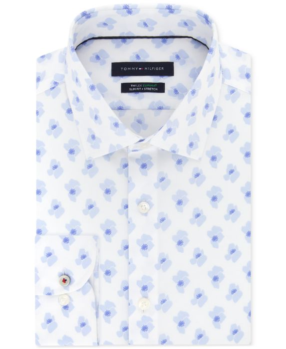 Tommy Hilfiger Mens Slim-Fit THFlex Supima® Stretch Non-Iron Floral Dress Shirt, Blue, Size: 17.5 34/35