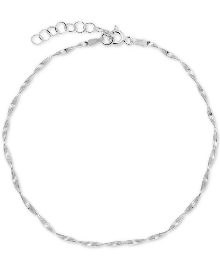 Giani Bernini - Blue Glass Evil Eye Ankle Bracelet in Sterling Silver