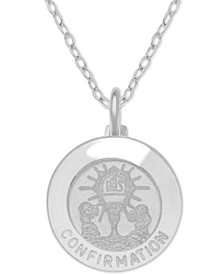 "Confirmation Medallion 18"" Pendant Necklace in Sterling Silver"