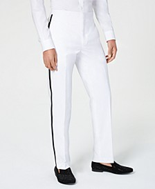 Men's Classic-Fit White Plain Tuxedo Pants